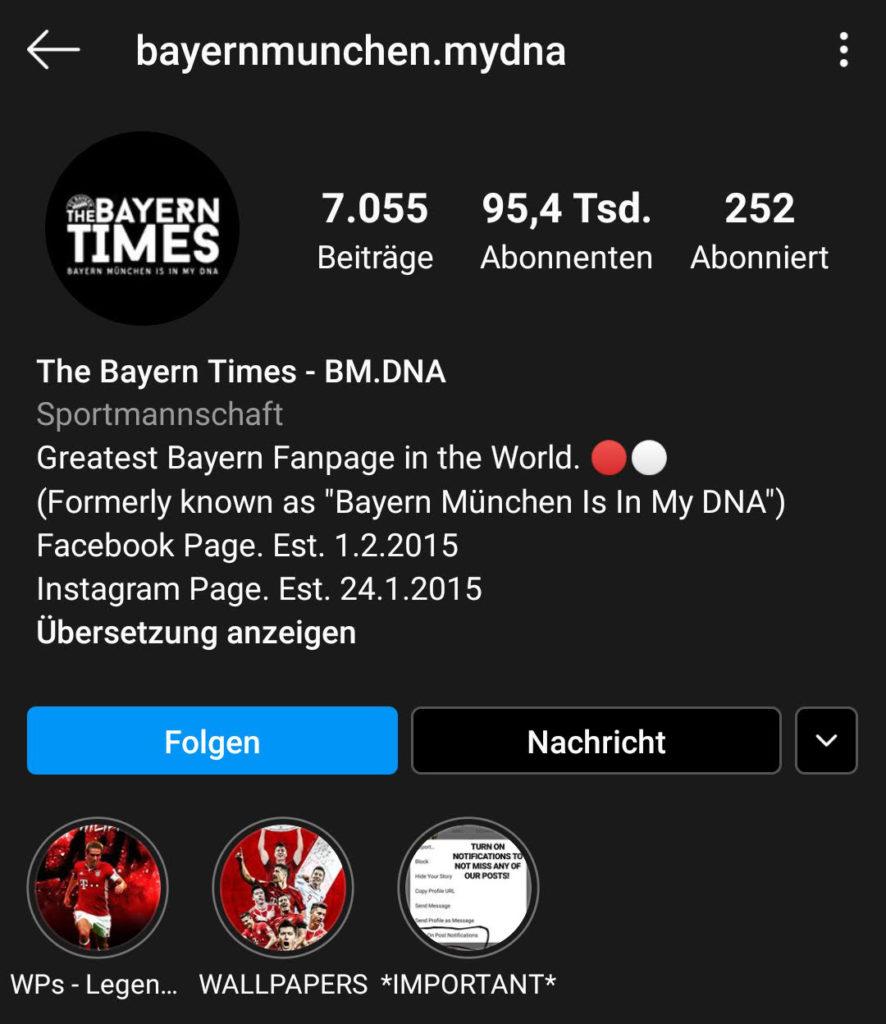 Screenshot zur Analyse des Instagram-Profils von bayernmunchen.mydna