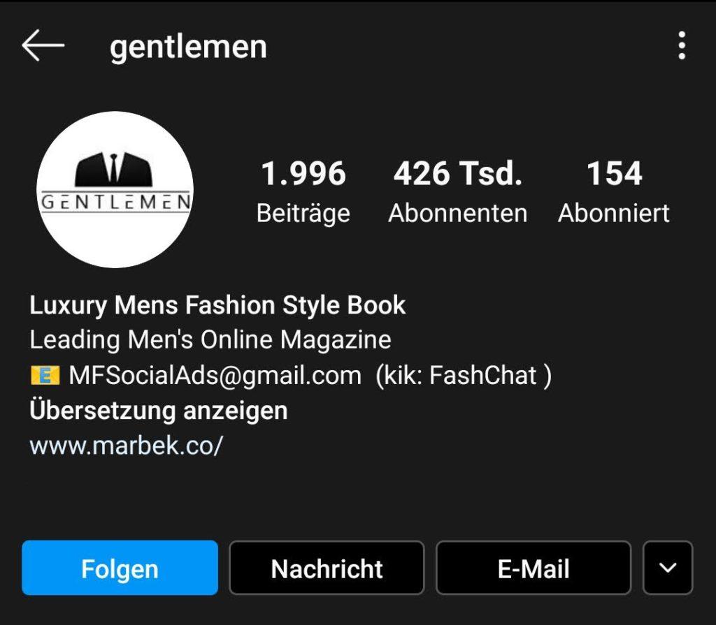 Screenshot zur Analyse des Instagram-Profils von gentlemen