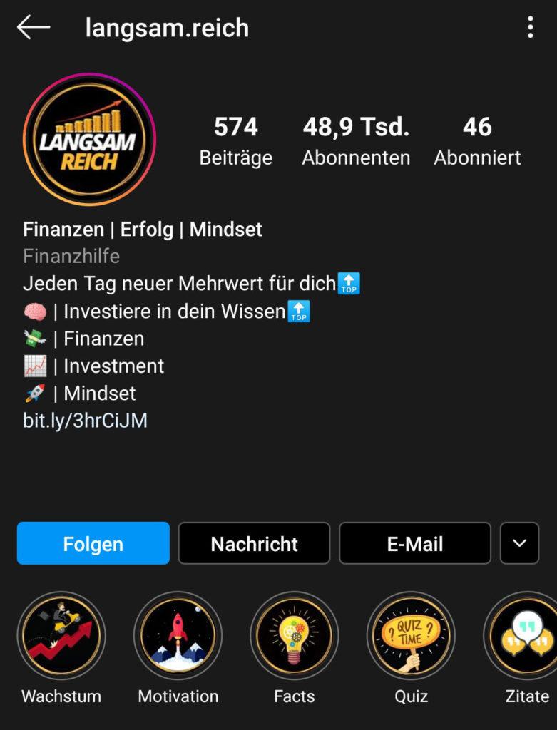 Screenshot zur Analyse des Instagram-Profils von langsam.reich