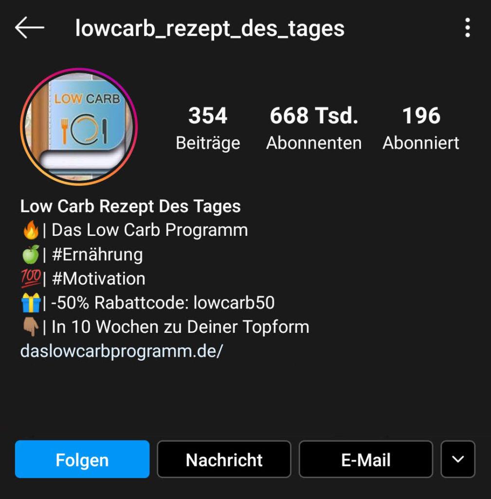 Screenshot zur Analyse des Instagram-Profils von lowcarb_rezept_des_tages