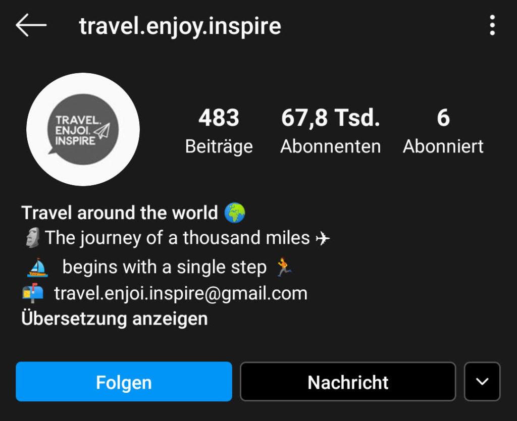 Screenshot zur Analyse des Instagram-Profils von travel.enjoy.inspire