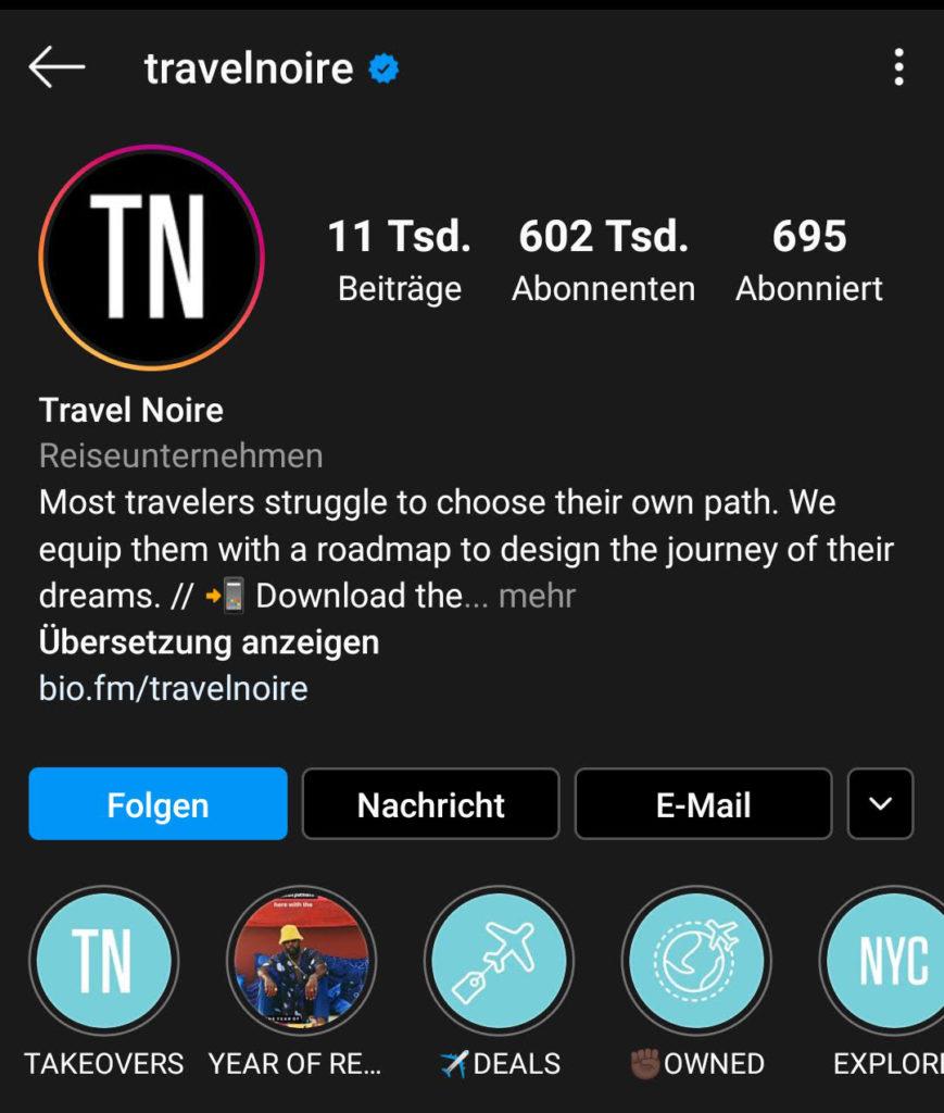 Screenshot zur Analyse des Instagram-Profils von travelnoire