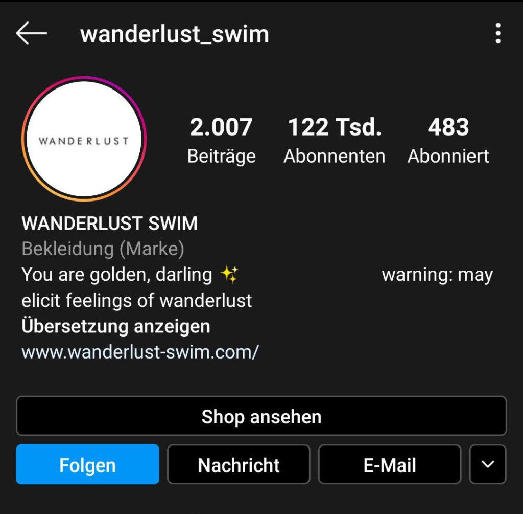 Screenshot zur Analyse des Instagram-Profils von wanderlust_swim