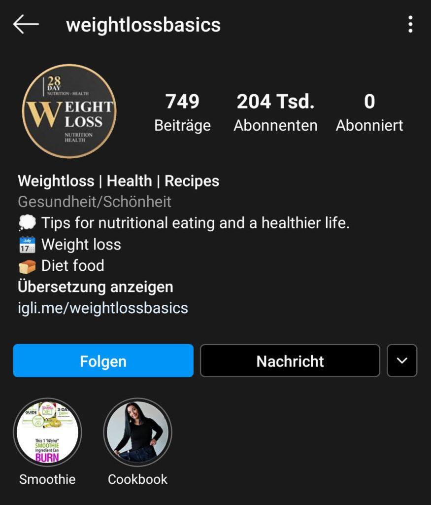 Screenshot zur Analyse des Instagram-Profils von weightlossbasics